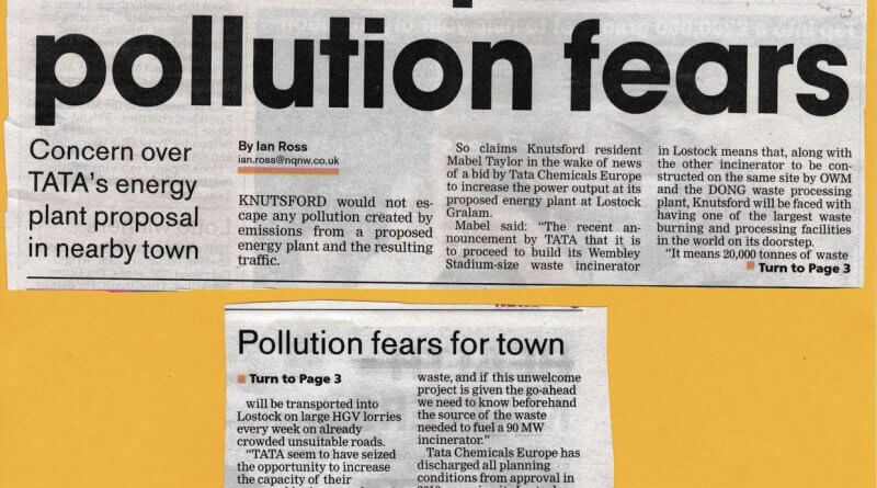 Knutsford Guardian TATA Waste story August 2018